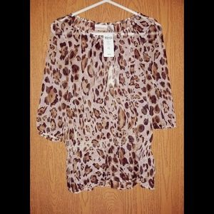 Foiled Sheer Cheetah Blouse